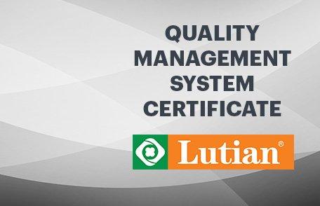 Lutian Quality Management Certificate